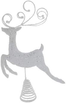 White Reindeer Metal Tree Topper Christmas Tree Decoration Gift Keepsake