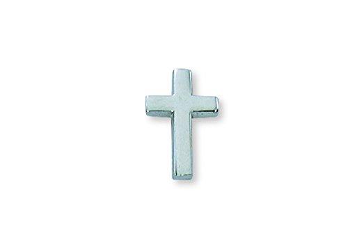 All Souls Latin Cross Lapel Pin - Rhodium Plated Silver - Gold Cross Lapel Pin