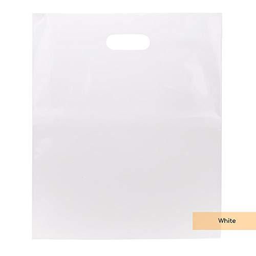 ClearBags LDPE White Handle Bags | 15 x 18 Merchandise Bags with Die Cut Handles | Strong and Tear Resistant | for Trade Shows, Retail, and Shopping | NFL Stadium Approved H1518W1A (100 Bags, White)