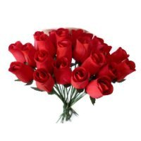 24 Realistic Wooden Red Roses (RED, 1)