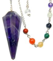 Enchanted Pendulum (Amethyst 12-Facet Chakra Pendulum for Channeling Intuition with Satin Pouch & Instruction Pamphlet)