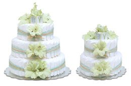 CutieBeauty Bloomers Mint Green Gladiolas With Natural Raffia Diaper Cake -2 Tier