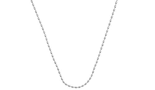 925 Sterling Silver Italian Oval Bead Necklace, 3MM, 4MM Sterling Silver Bead Ball Necklace, Rice Bead Chain Necklace, Silver Beaded Necklace 16-36 (24, 2.3MM)