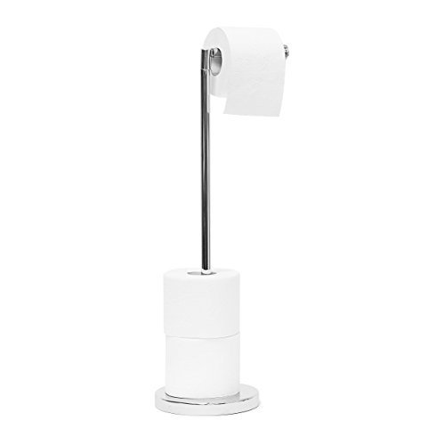 Relaxdays Toilettenpapierhalter stehend H x B x T: ca. 75 x 22 x 16,5 cm freistehender Papierrollenhalter in Edelstahl-Optik edler Rollenhalter für WC-Rollen als Ersatzrollenhalter verchromt, silber
