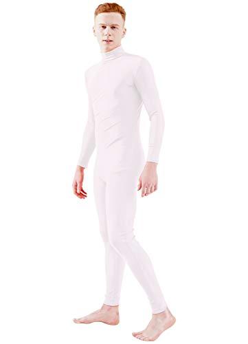 Ensnovo Adult Lycra Spandex Turtleneck Long Sleeve One Piece Unitard Bodysuit Dancewear White, L