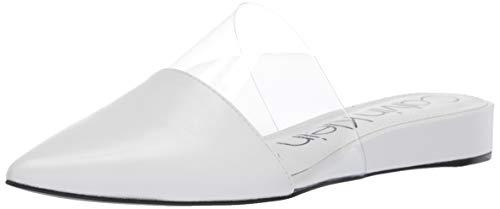 Calvin Klein Women's CHARMONE Mule, White Kid Skin/Clear Lucite, 8.5 M US