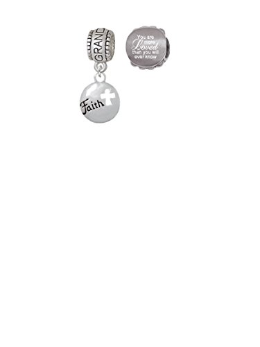 Cut Out Faith Charm (Faith Disc with Cutout Cross Granddaughter Charm Bead with You Are More Loved Bead (Set of 2))