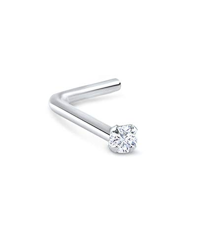 18k White Gold L Bend Nose Stud Ring 1.5mm Clear Round CZ 18G