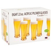 Cordial Bath (Creative Bath 22-Ounce BPA Free Acrylic Pilsner Beer Glasses, Set of 8)