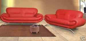 Modern Retro Designer Red Faux Leather Sofa Set: Amazon.co.uk ...