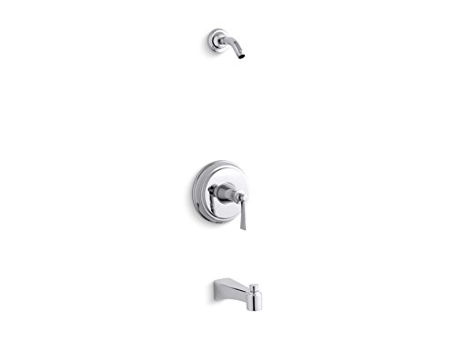 (KOHLER TLS11077-4-CP Archer(R) Rite-Temp(R) bath and shower valve trim with lever handle and spout, less showerhead)