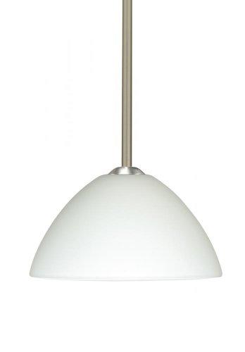 Besa Lighting 1TT-420107-LED-SN 1X6W GU24 Tessa LED Pendant with White Glass, Satin Nickel Finish
