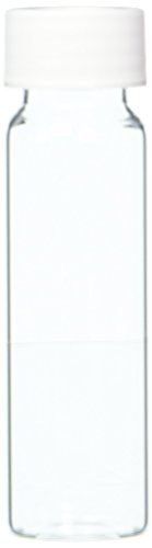 JG Finneran 9-102-2 Clear Borosilicate Glass Precleaned VOA Vial with White Polypropylene Open Top Closure and 0.125'' PTFE/Silicone Septa, 24-414mm Cap Size, 40mL Capacity (Pack of 72) by JG Finneran (Image #1)