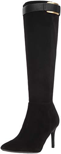 (Calvin Klein Women's GLYDIA Knee High Boot, Black Suede, 8 M US)