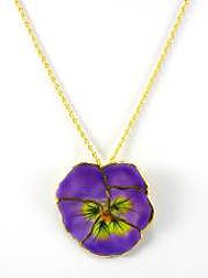 REAL FLOWER Lilac Pansy Pendant Necklace Lilac
