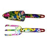 WORLD BEST MOM-MOTHERS DAY GIFT - FLORAL GARDEN GARDENING HAND TOOLS HIGH QUALITY 2 PIECE PLASTIC CULTIVATOR & TROWEL (WID SPADE) - WITH FREE TOOL BELT {jg}