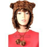 Ladies Teens Winter Warm Faux Fur Animal Bear Trapper Hat with Ears & Pom Poms (58cms) by NA (Pom Trapper)