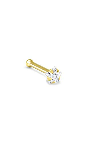 14k Yellow Gold Nose Bone Ring 3mm Star CZ 18G