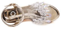 Laruise Women's Crystal Pendant High-heeled Sandals Gold 7iye4o47Es