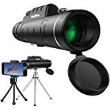 HoFire Monocular Telescopes, 12x50 Dual Focus Waterproof Spotting Scopes, Low Night Vision with Phone Clip and Tripod for Cell Phone-for Bird Watching, Hunting, Camping, Hiking, Outdoor, Surveillance (Best Budget Night Vision Monocular)