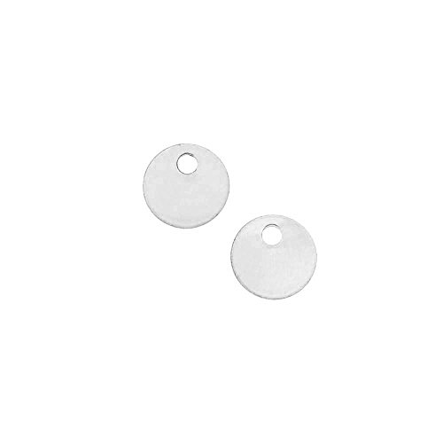 Beadaholique Sterling Silver Charm, Round Disc Pendant Blank 6mm Diameter, 2 Pieces
