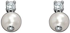 Pierre Cardin Joli 4361580 - Pendientes de mujer de plata de ley con 2 circonitas y perla sintética (2 perlas), 2 cm