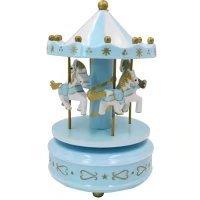 Birthday Cake Decoration Merry-Go-Round Musical Box Carousel Horse Music Box(Blue)
