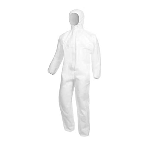 Disposable Non-Woven Clothing, Dustproof, Purification, Fabric Isolated Clothing Hood Coverall Suit White Non-medical (1 Piece Size XLL)