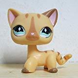 new brand #886 Rare Littlest Pet Shop Short Hair Cat Cream Stripe Kitty Diamond Eyes LPS]()