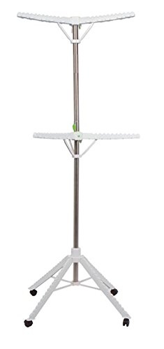 Garment & Drying Rack, 2-Tier 6 Arms Holds 60 Garments, Foldable , Stainless Steel , Sturdy 4 Legs with Wheels