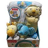 Fisher Price Cuddle N Play Pals - Lion, Elephant & Giraffe- 4 Piece Gift -