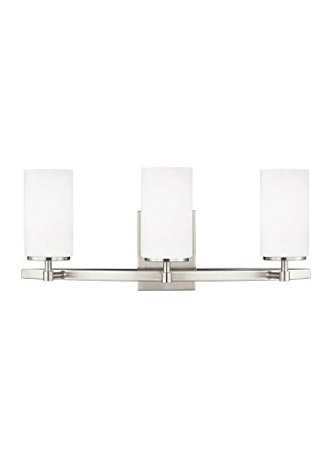 24603EN3-962 Alturas Three-Light Bath or Wall Light Fixture with Etched White Inside Glass Shades, Brushed Nickel Finish (Sea Gull Lighting Bathroom Bulbs)