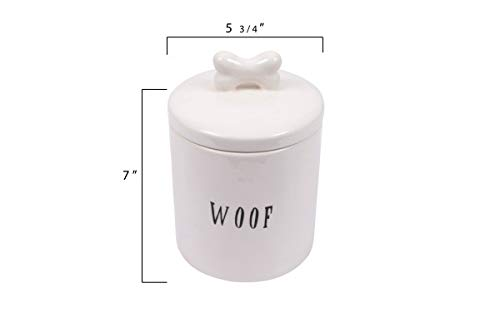 Creative Co-op DA5576 Woof Ceramic Dog Treat Jar, With Bone Handle, White