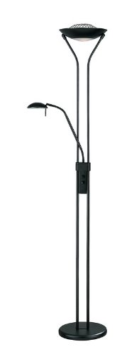 Lite Source LS-80984BLK Floor Lamp with Frosted Glass Shades, Black (Lite Source Lighting Glass Floor Lamp)
