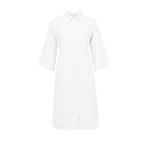 iLOOSKR Mini Shirt Dress Plus Size Women Fashion Solid Pocket Button Casual V-Neck Short Sleeve Mini Shirt Dress ()