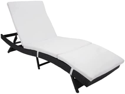 S Style Patio Chaise Lounge Embossing Vines Chaise Lounge Can Be Folded Chair Black Household Embossed Vine Supplies