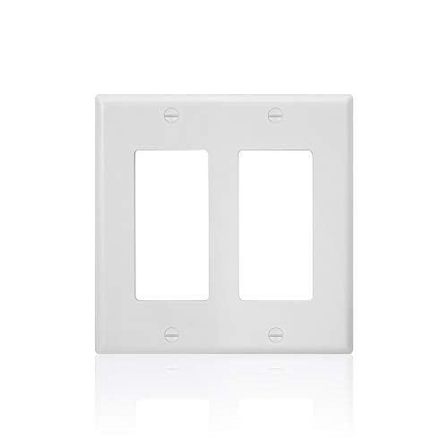 10 Pack - 2-Gang Light Switch Cover Plate Decorator - UL Listed - GFCI Plastic Wall Plate, White (2 Wall Plate)