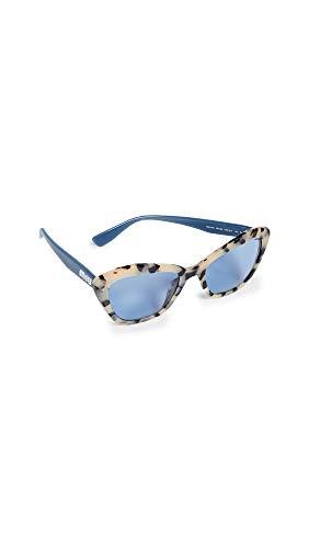 - Miu Miu Women's Acetate Cat Eye Sunglasses, Light Havana, Blue, Print, One Size