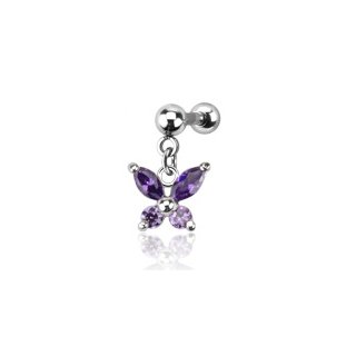 316L Surgical Steel Multiple w/Purple Gem Butterfly Dangle Cartilage/Tragus Barbell