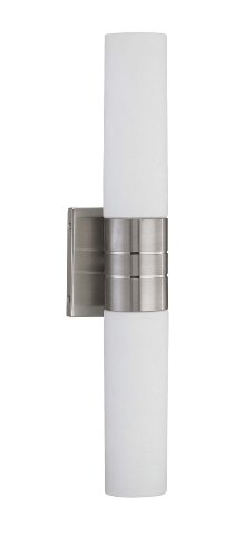 Nuvo Lighting 60/3955 Link 2-Light Double Tube Wall Sconce with White Glass, Brushed Nickel