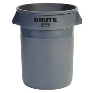 Bunzl Distribution Midcentral 177077201 Rubbermaid Brute Container, No Lid, 32 gal, Gray, Plastic
