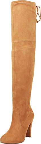 - Cambridge Select Women's Thigh High Drawstring Chunky High Heel Over The Knee Boot,9 B(M) US,Tan IMSU