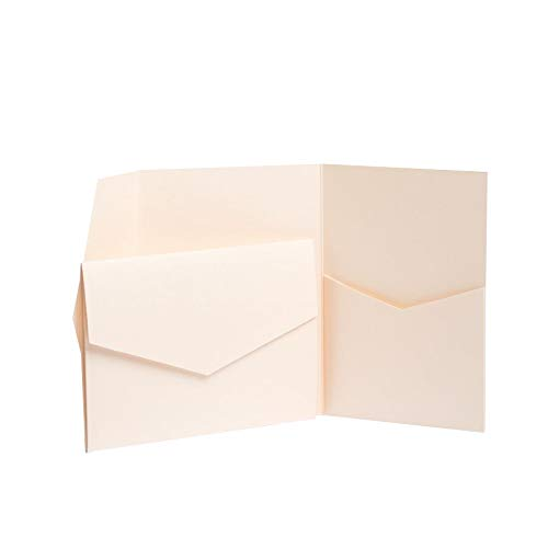 Coral Pearlescent Pocketfold Invites 130mmx185mm (10)