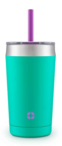 Ello Rise Vacuum Insulated Stainless Steel Tumbler with Optional Straw, 12 oz, Mint