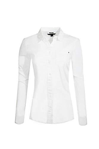 Tommy Hilfiger Womens Long Sleeve Poplin Shirt (Large, White (No Pocket))