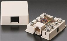 PREFERRED INDUSTRIES 560454 Telephone Surface Mount Jack - Ivory