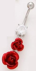 tngbodyjewelry.com Double Metal Red Roses Dangle Belly Button Navel Ring