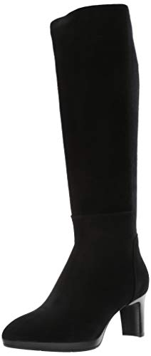 Aquatalia Women's Dale Stretch Suede/Elastic Knee High Boot, Black, 7.5 M US
