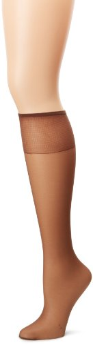 Hanes Silk Reflections Women's 2-Pack Knee High Sandalfoot, Gentlbrown, One Size -