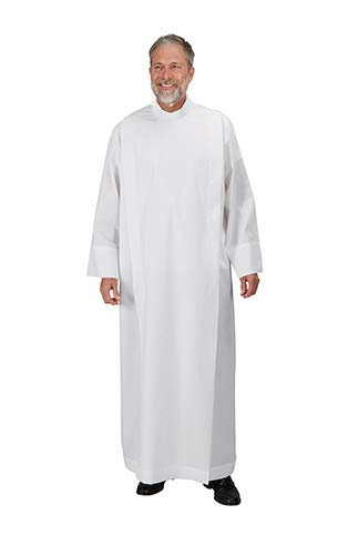 - Clergy Front Wrap Alb - 65% Poly/35% Cotton With Lining On The Yoke Size X-Large